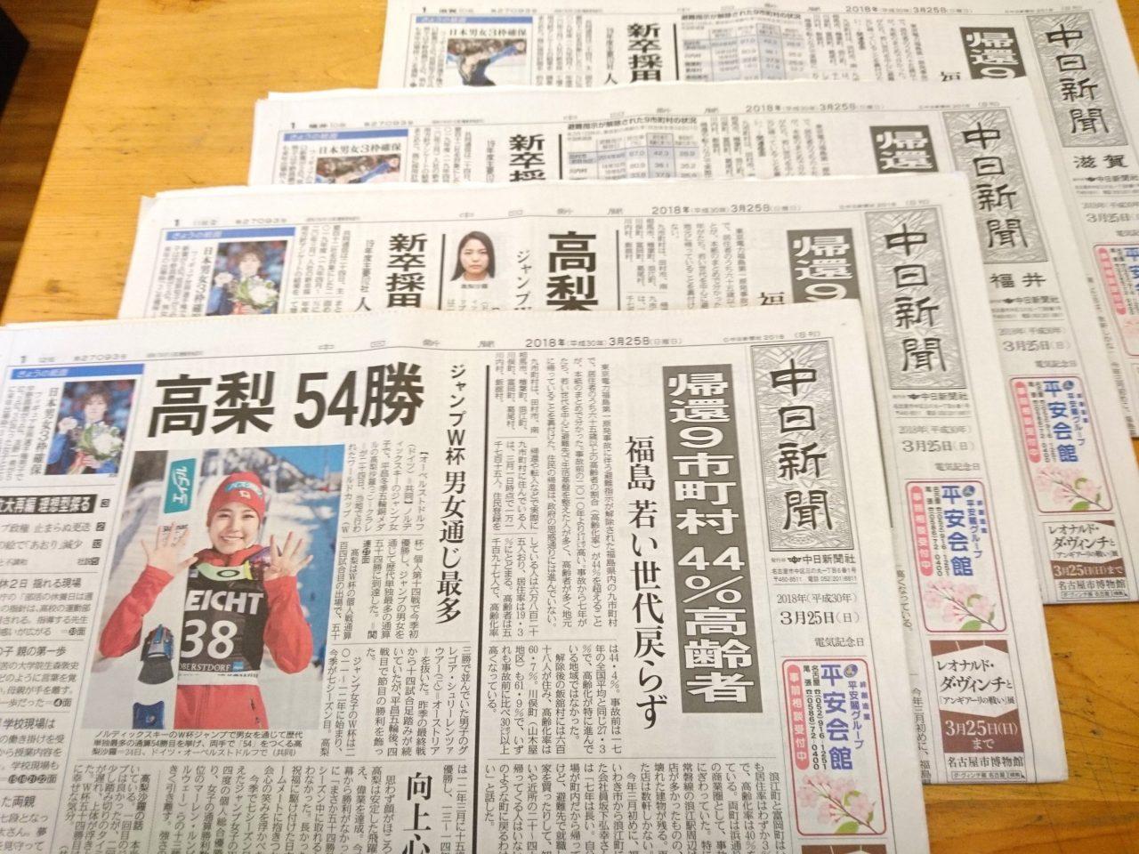 【新聞版数面建て調査】2018.3.25朝刊(7)中日新聞、日刊県民福井、東京新聞