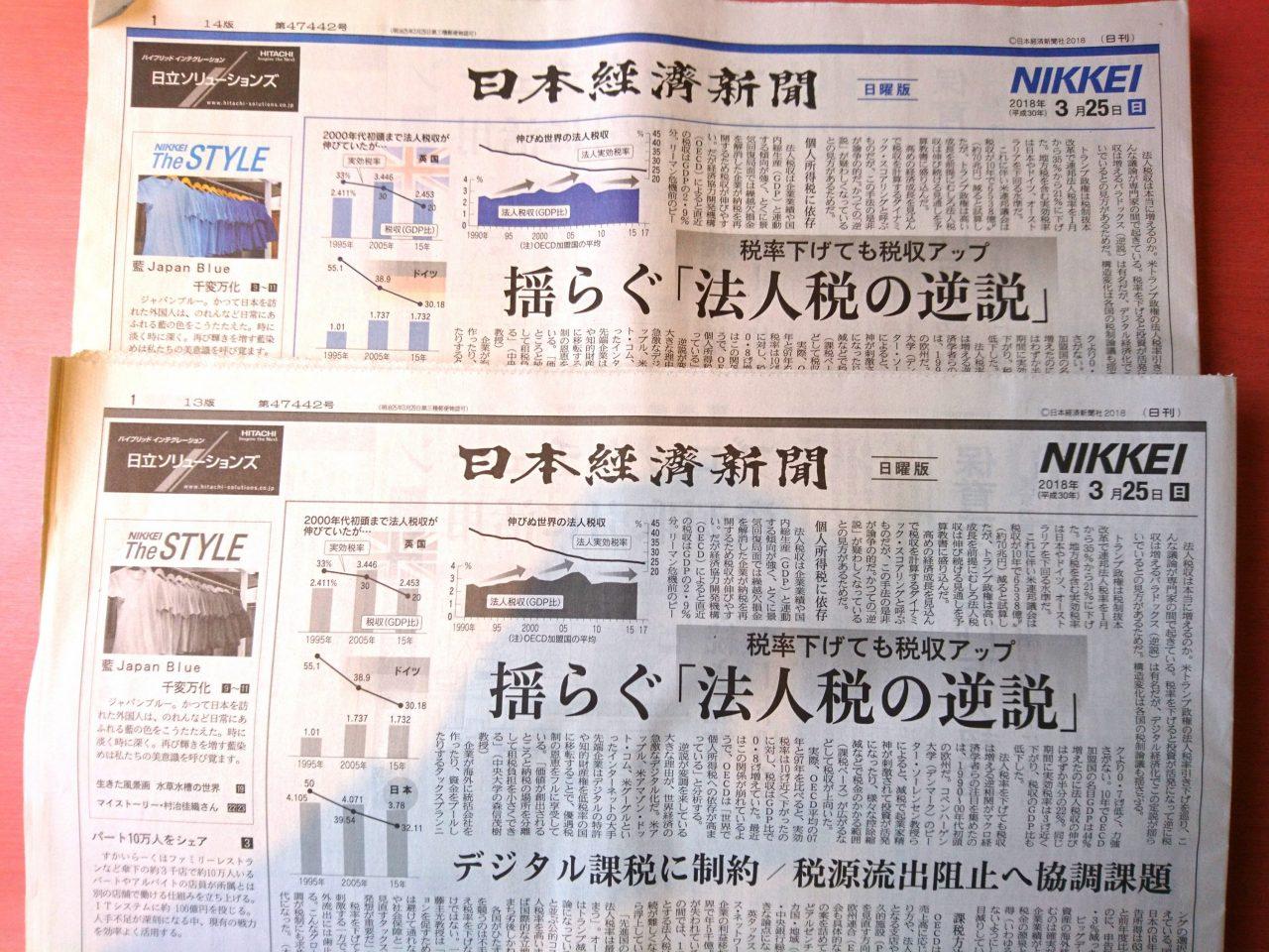 【新聞版数面建て調査】2018.3.25朝刊(6)日本経済新聞