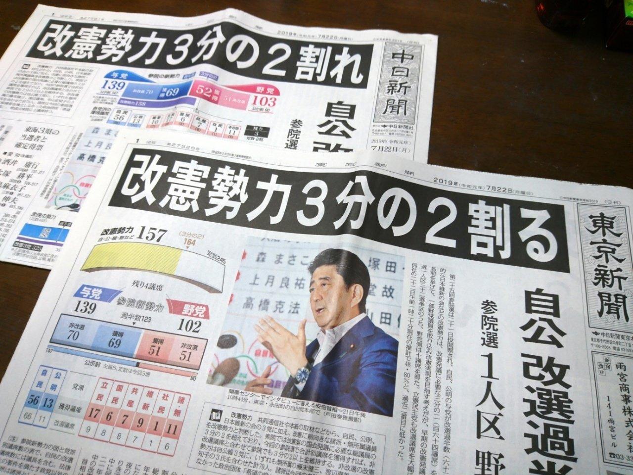 【新聞版数面建て調査】2019.7.22朝刊(7)中日新聞、東京新聞