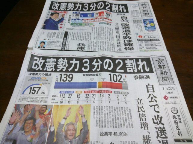 【新聞版数面建て調査】2019.7.22朝刊(8)京都新聞、神戸新聞