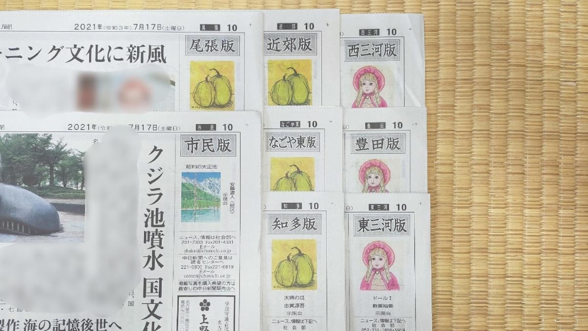 中日新聞の愛知県内地域面